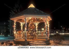 stock photo of gazebo holiday christmas tree outdoor