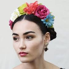 day of the dead headband multi color frida kahlo flower crown rainbow mexican dia de