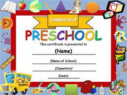 preschool certificates kindergarten diploma certificate templates