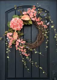 Spring Wreath Ideas Spring Wreath Hydrangea Monogram Summer Coral Pink Front Door