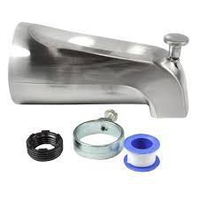 shop bathtub spouts at lowes com danco nickel bathtub spout with diverter