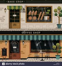 retro flat design of coffee shop and bakery facades stock vector