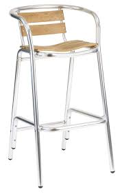 teak seat aluminum outdoor bar stool