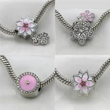 pandora diy bracelet images 5 style flower bead charm crystal peach blossom beads fit pandora jpg