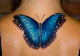 mind blowing blue butterfly tattoo design on back shoulder