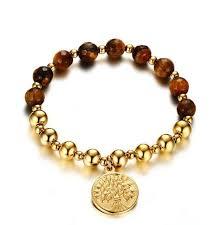 designer stainless steel charm bracelet quote gold