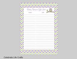 owl baby shower gift list printable baby shower gift record