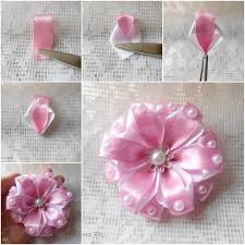 ribbon flowers wonderful diy pretty ribbon flower with pearls