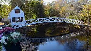 House Over Water Somesville Maine Beautiful Curved Bridge Over Water Pond And White