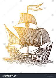 old ship sailboat pirate ship fleet stock vector 444480412