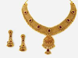 gold small necklace designs images Jewellery designs designer gold necklace set with studded rubies jpg