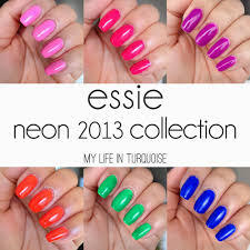 my life in turquoise nail polish review essie neon 2013 collection