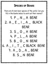 bear facts information u0026 worksheets teaching resource