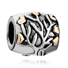 22k golden family tree of charm pandora