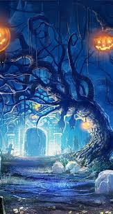 happy halloween artwork scary night in the cemetery happy halloween