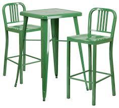 Blue Metal IndoorOutdoor Bar Table Set With  Vertical Slat Back - Indoor outdoor sofas 2