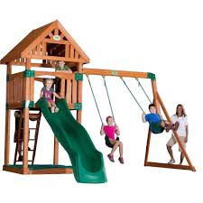 backyard discovery oakmont cedar wooden swing set images with