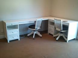 2 Person Desk Ideas Corner 2 Person Desk With Drawers And Matching Rolling Chairs For