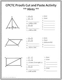 Cpctc Worksheet Answers Congruent Triangles And Cpctc Proofs Cut And Paste Activity Tpt