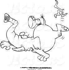 vector of a cartoon elephant slipping on a banana peel coloring
