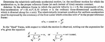 homework and exercises derivation of relativistic uniformly