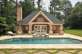 pool house plans with bedroom mascord house plans for a traditional pool with a outdoor chaise