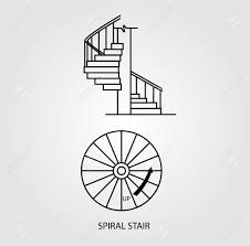 top view and side view of a spiral staircase royalty free cliparts