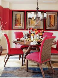 sweet red chairs with stylish iron chandelier for amazing dining