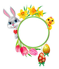 easter bunny and chicken with round frame transparent clipart
