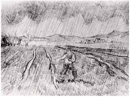 enclosed field with a sower in the rain by vincent van gogh 900