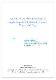 a study on customer perceptions of leading deodorant brands in kolkata