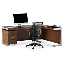 nickel plated desk l bdi sequel walnut l desk modern office set eurway