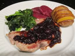 roast pork with port wine cranberry sauce dinner party recipe