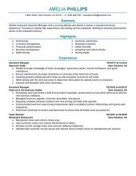 assistant manager resumes best restaurant assistant manager resume exle livecareer