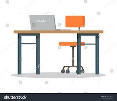 Modern Office Furniture Workplace Vector Illustration Flat Style Modern Stock Vector
