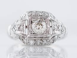 vintage engagement ring art deco 33 old european cut in 18k white