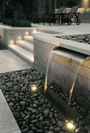 lawn u0026 garden modern backyard waterfall decor with gravel and
