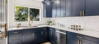 navy blue and grey kitchen cabinets midnight blue shaker