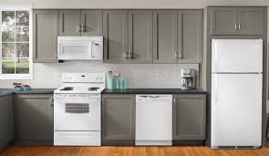 kitchen grey kitchen cabinets with white oven refrigerator stove