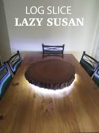 rustic live edge log slice lazy susan with led lighting dining