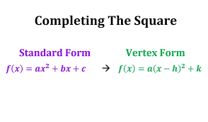 writing a quadratic equation in vertex form completing the square