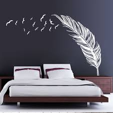 White Wall Decals For Bedroom Aliexpress Com Buy Free Shipping Creative Feather Vinyl Wall