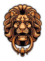 lion door knocker decoration of lion door knocker stock vector illustration of