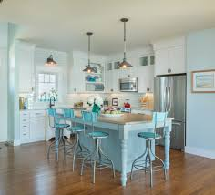 winning coastal kitchen ideas gray stained wall globe blue glass