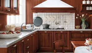 pretty mahogany cabinets designs with white ceramic tiled