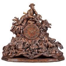 Linden Mantel Clock Large 19th Century Carved Black Forest Mantel Clock For Sale At