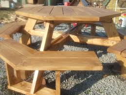 Plans To Build A Hexagon Picnic Table by Octagon Picnic Table Plans With Umbrella Hole Home Table Decoration