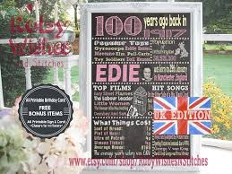 printable birthday cards uk 12 best 100th birthday chalkboard printable poster 1917 1918 images