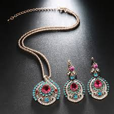 crystal vintage necklace images Kinel 3pcs vintage jewelry sets for women antique gold pink jpg