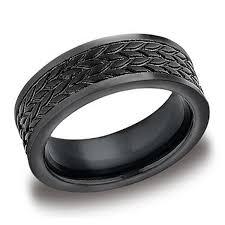 mens wedding bands cobalt benchmark 8mm tire tread mens black cobalt wedding band